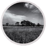 The First Homestead In Black And White Round Beach Towel