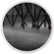 The Fishing Pier Round Beach Towel