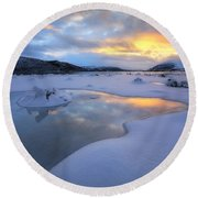 The Fjord Of Tjeldsundet In Troms Round Beach Towel