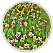 The Flower Bed Round Beach Towel