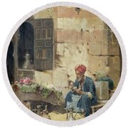 The Flower Seller Round Beach Towel