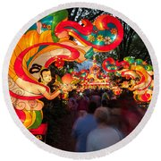The Flying Apsaras Round Beach Towel