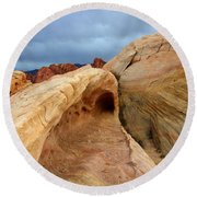 The Folded Landscape Round Beach Towel
