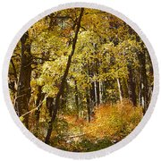 The Forest Beckons Round Beach Towel