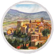The Fortified Walled Village Of Gualdo Cattaneo Umbria Italy Round Beach Towel