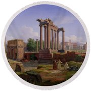 The Forum Rome  Round Beach Towel