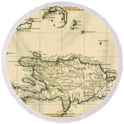 The French And Spanish Colony Of The Island Of St Dominic Of The Greater Antilles Round Beach Towel by Guillaume Raynal