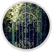 The Gate In The Grotto Of The Redemption Iowa Round Beach Towel