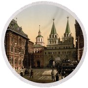 The Gate Of Notre Dame D Iberia Moscow Round Beach Towel