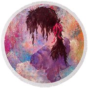 The Girl Of Many Colors Round Beach Towel
