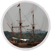 The God Speed Tall Ship Round Beach Towel