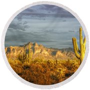 The Golden Glow II Round Beach Towel
