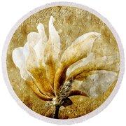 The Golden Magnolia Round Beach Towel