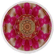 The Golden Orchid Mandala Round Beach Towel