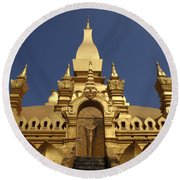 The Golden Palace Laos Round Beach Towel