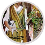 The Good Shephard At The Door Round Beach Towel by Mindy Newman