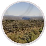 The Gorge On The Mesa Round Beach Towel