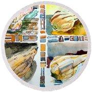 The Gourd Quartet Round Beach Towel by Mindy Newman