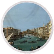 The Grand Canal Round Beach Towel by Antonio Canaletto