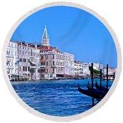 The Grand Of Venice Round Beach Towel