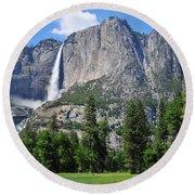 The Grandeur Of Yosemite Falls Round Beach Towel
