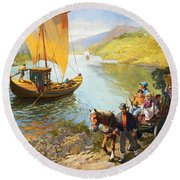 The Grape-pickers Of Portugal Round Beach Towel