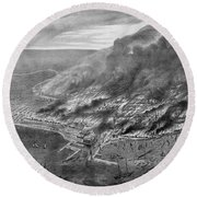 The Great Chicago Fire, 1871 Round Beach Towel