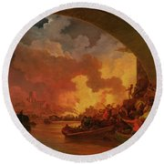 The Great Fire Of London Round Beach Towel