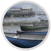 The Green Canoe Round Beach Towel by Debra and Dave Vanderlaan