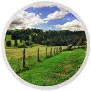 The Green Green Grass Of Home Round Beach Towel