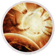 The Hand Of Destiny Nebula Is Devouring Round Beach Towel
