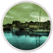 The Harbour At Padstow Round Beach Towel