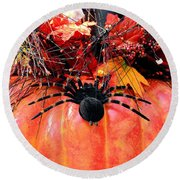 The Harvest Spider Round Beach Towel
