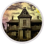 The Haunted Mansion Round Beach Towel by Bill Cannon
