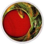 The Heart Of A Snake Round Beach Towel