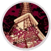 The Heart Of Paris - Digital Painting Round Beach Towel
