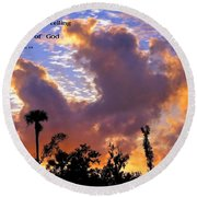 The Heavens Tell Round Beach Towel