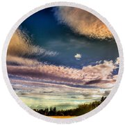 The Heavy Clouds Round Beach Towel