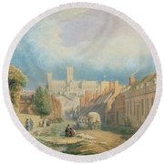 The High Street Lincoln  Round Beach Towel