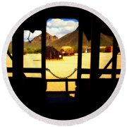 The Hills In Old Tuscon Az Round Beach Towel