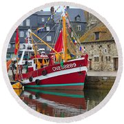 The Historic Fishing Village Of Honfleur Round Beach Towel