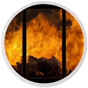The Home Fires Are Burning Triptych Round Beach Towel