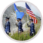 The Honor Guard Posts The Colors Round Beach Towel
