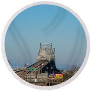 The Horace Wilkinson Bridge Over The Mississippi River In Baton Rouge La Round Beach Towel