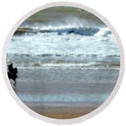 The Horse And The Sea Round Beach Towel