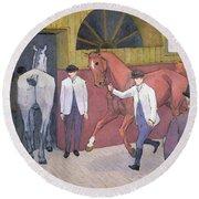 The Horse Mart  Round Beach Towel by Robert Polhill Bevan