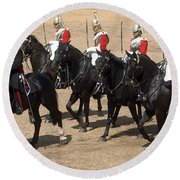 The Household Cavalry Performs Round Beach Towel