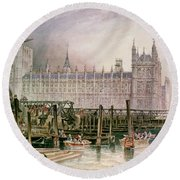 The Houses Of Parliament In Course Of Erection Round Beach Towel