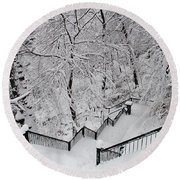 The Hundred Steps In The Snow Round Beach Towel
