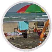 The Idyll On The Mediterranean Shore Round Beach Towel
